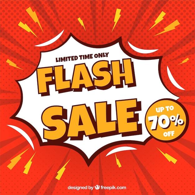 Sfondo di vendita flash in stile fumetto Vettore gratuito