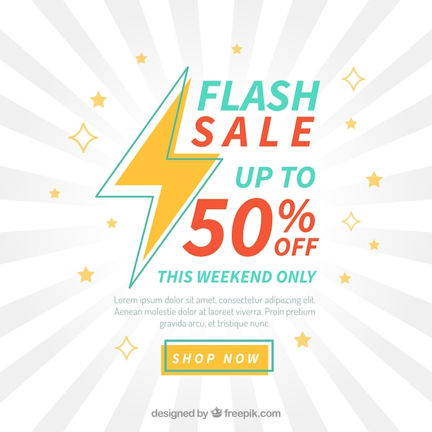 Flash sale background in flat style Premium Vector