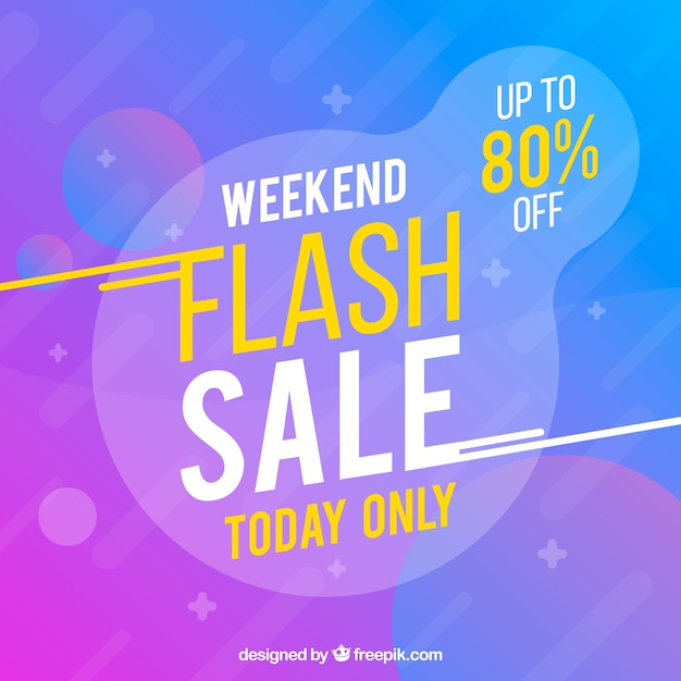 Flash sale background in gradient style Free Vector