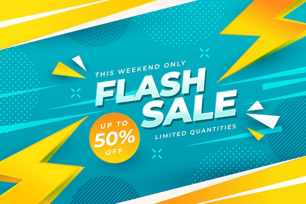 Flash sale background with discount Free Vector
