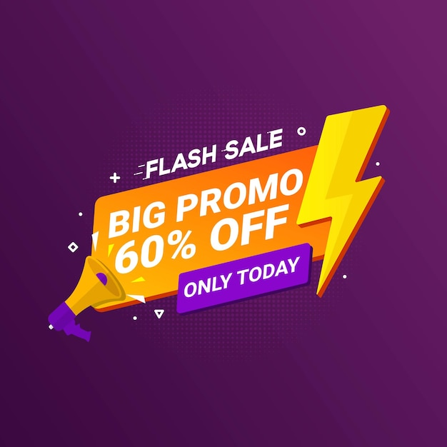 Флэш распродажа баннер большой промо для продвижения бизнеса в розницу Premium векторы