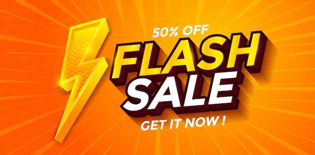 Flash sale banner discount with lighting vector Premium Vector