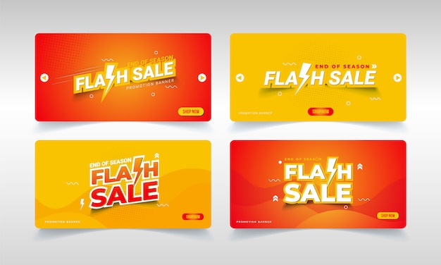 Flash sale banner for the end of season promotion Premium Vector