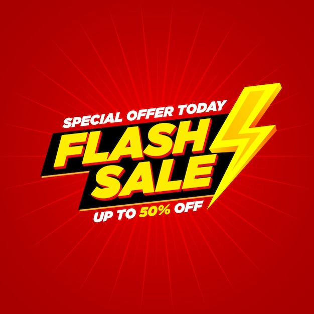 Flash sale banner lightning   text and background Premium Vector