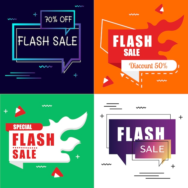 Flash sale banner set элементы premium vector pack Premium векторы