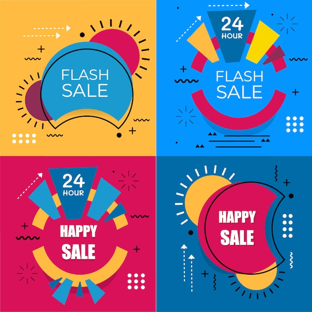 Flash sale banner set elements premium vector pack Premium Vector