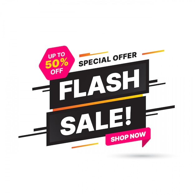 Flash sale banner template design, big sale special offer. end of season special offer banner. abstract promotion graphic element. Premium Vector