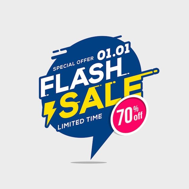 Flash sale banner template special offer with thunder Premium Vector
