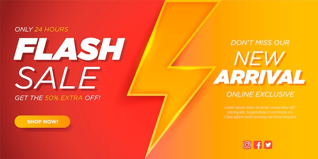 Flash sale banner template with thunderbolt Free Vector