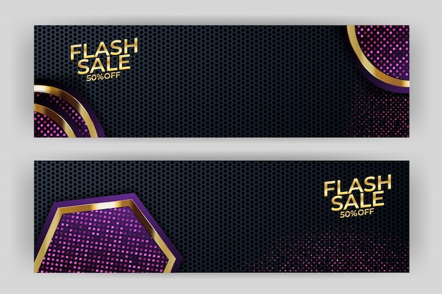 Flash sale banner with gold background style premium party Premium Vector