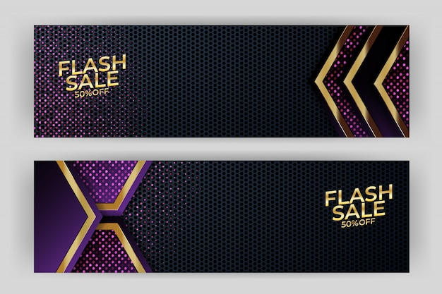 Flash sale banner with gold background style premium Premium Vector