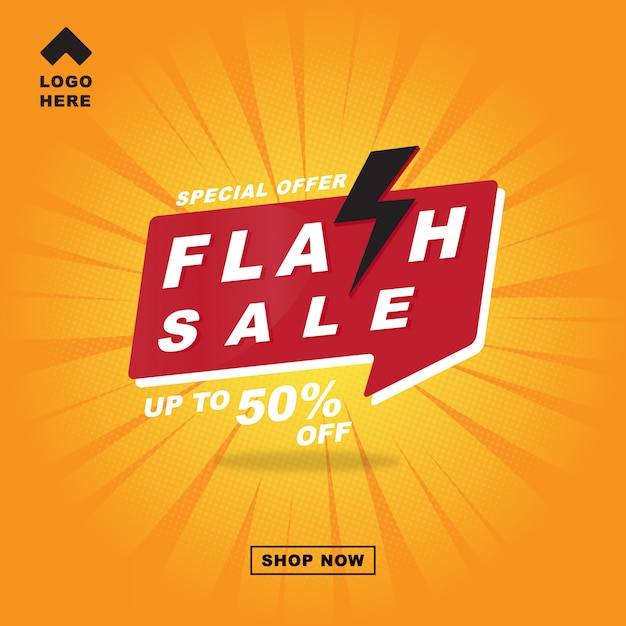 Flash sale banner with thunder comic style. Premium Vector