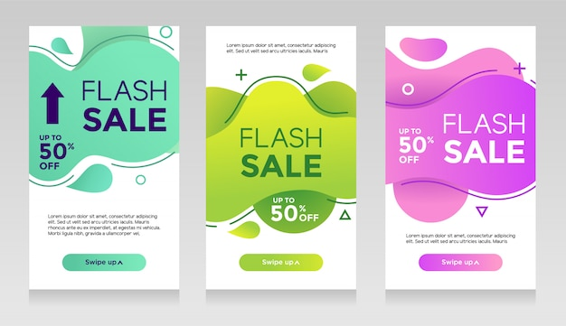 Flash sale banners with abstract liquid color. sale flyer template design, flash sale special offer set Premium Vector