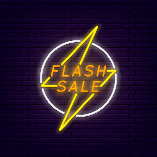 Flash sale colorful neon banner at brick wall. lightning in circle Premium Vector