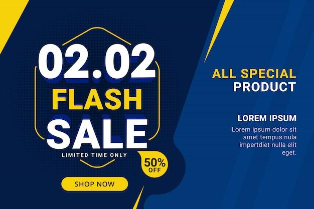 Flash sale discount banner template promotion Premium Vector