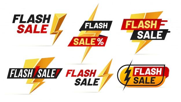 Flash sale. mega sales lightning badges, best deal lightnings poster and buy only today offer badge illustration set Premium Vector