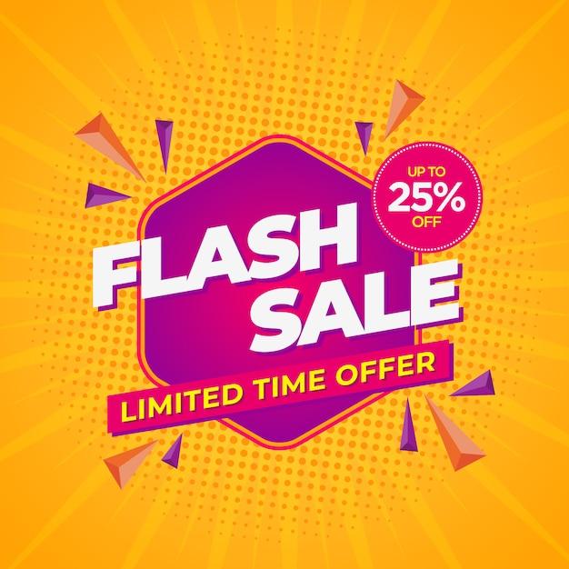 Flash sale modern banner template yellow Premium Vector