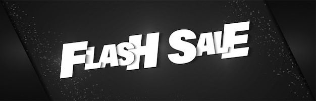 Flash sale poster banner with black background and realistic lettering. Premium Vector