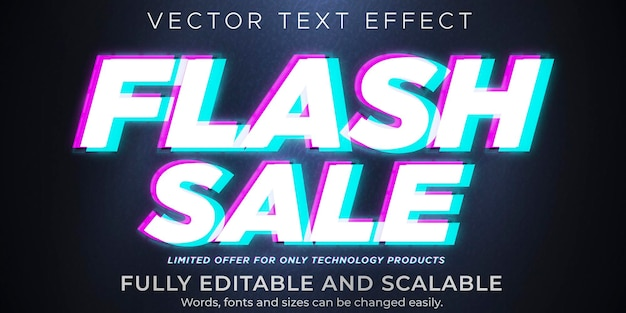 Flash sale text on glitch effect, editable discount and offer text style Premium Vector