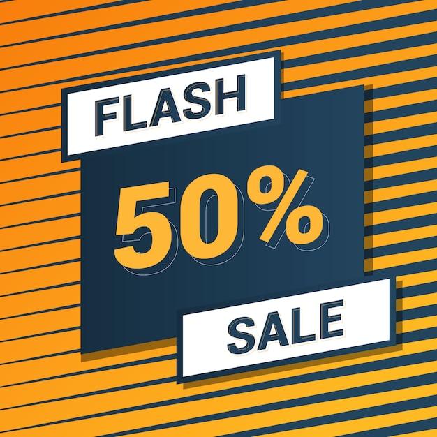 Flash sale yellow background Premium Vector