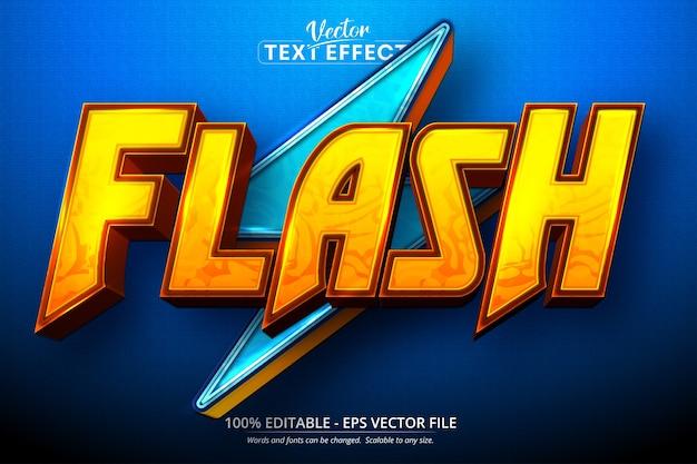 Flash text, cartoon style editable text effect Premium Vector