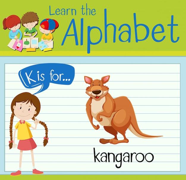 Flashcard alphabet k is for kangaroo | Premium Vector