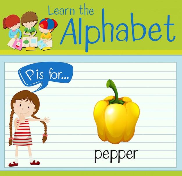 Flashcard alphabet p is for pepper Premium Vector