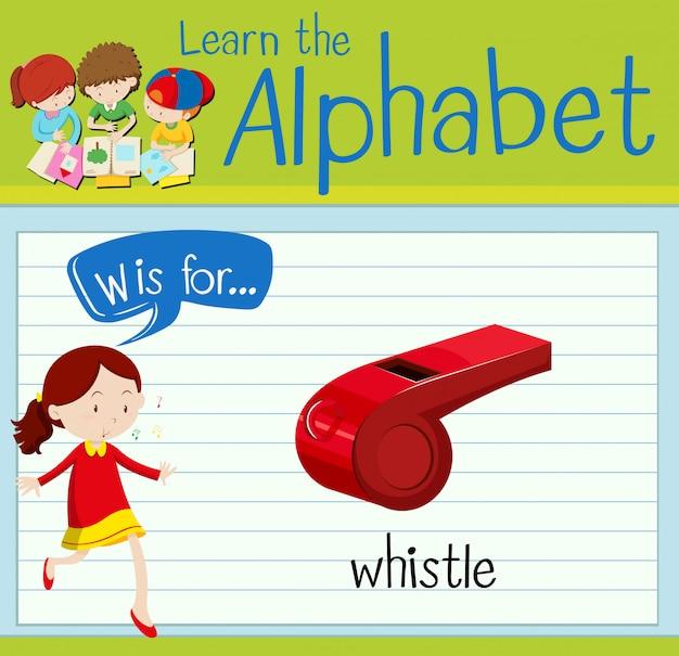 Flashcard alphabet w is for whistle Premium Vector