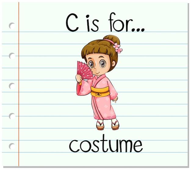 Flashcard буква c для костюма Бесплатные векторы