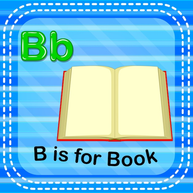 Flashcard letter b is for book Premium Vector