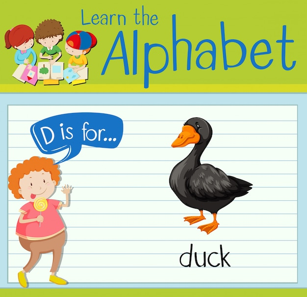 Flashcard letter d is for duck Free Vector