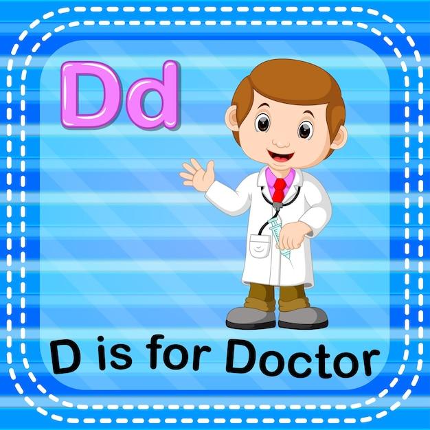 Письмо флэш-карты d для врача Premium векторы
