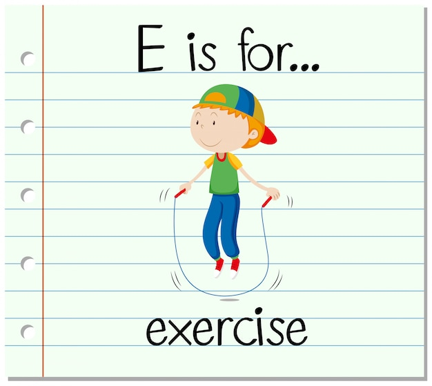 Flashcard letter e is for exercise Free Vector