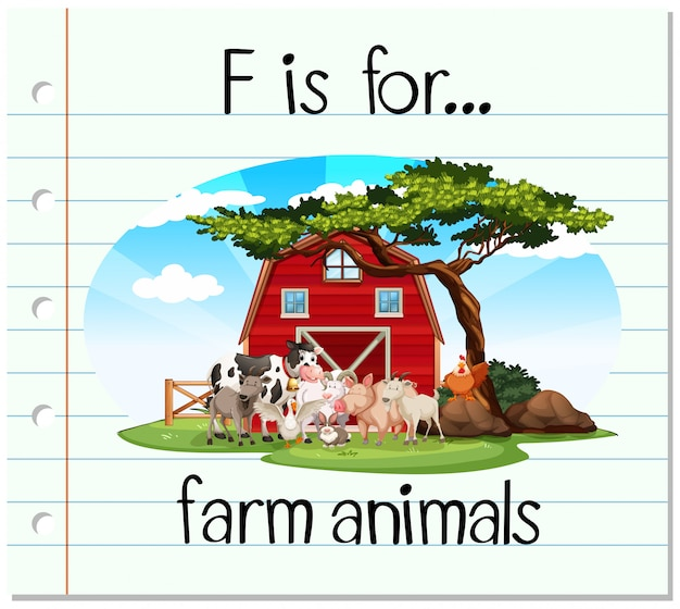 Flashcard letter f is for farm animals Free Vector