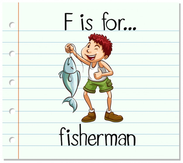 Flashcard letter f is for fisherman Free Vector