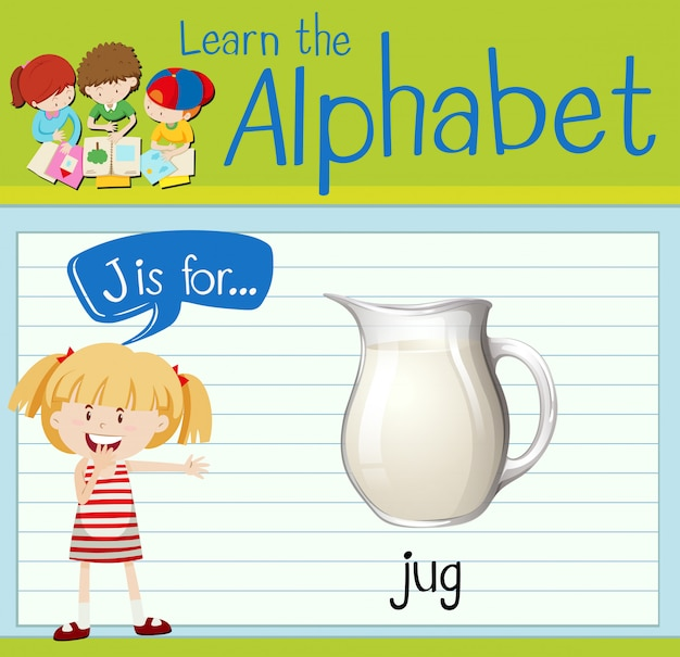 Flashcard letter j is for jug Premium Vector