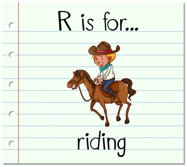 Карточка буква r для верховой езды Бесплатные векторы