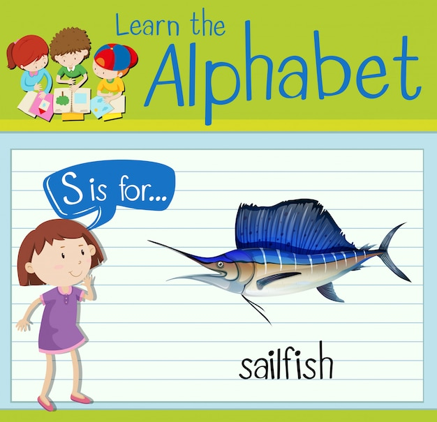 Flashcard letter s is for sailfish Vector | Premium Download
