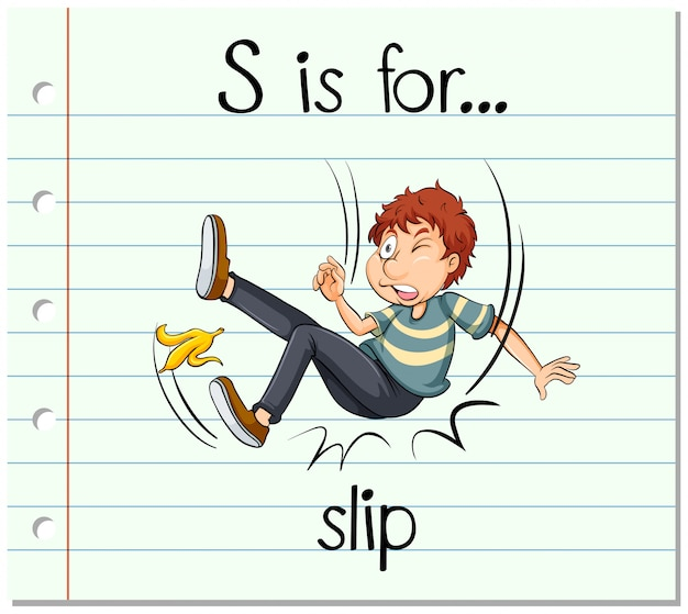 Flashcard letter s is for slip Free Vector