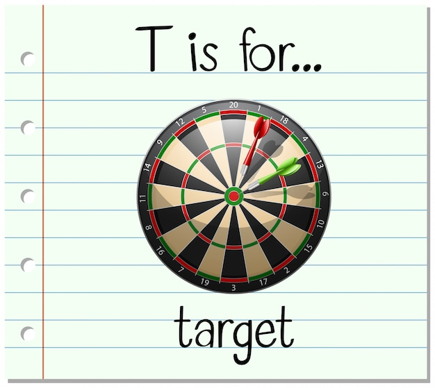 Flashcard letter t is for target Free Vector