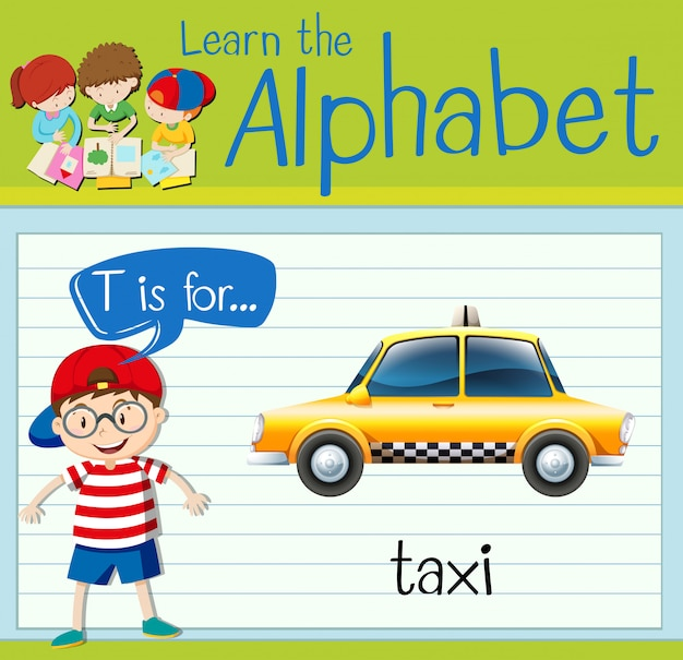 Flashcard letter t is for taxi Premium Vector