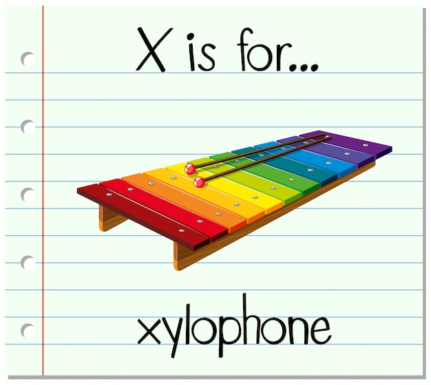 Flashcard letter x is for xylophone Free Vector