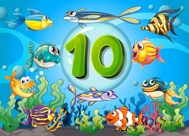 Flashcard number ten with 10 fish underwater Free Vector