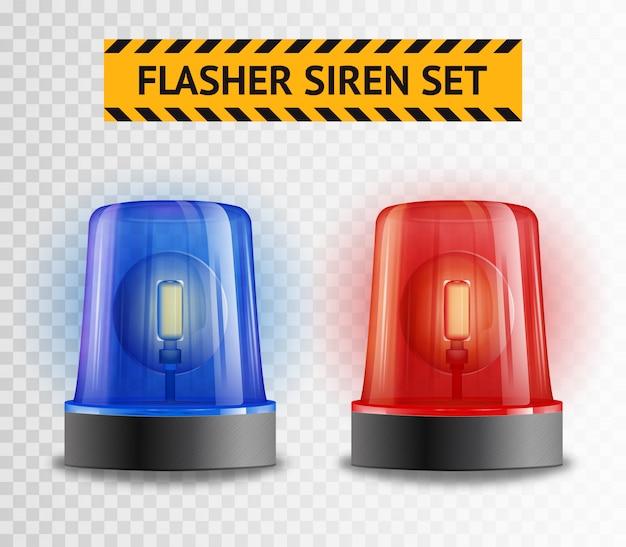 Flasher siren transparent set Free Vector