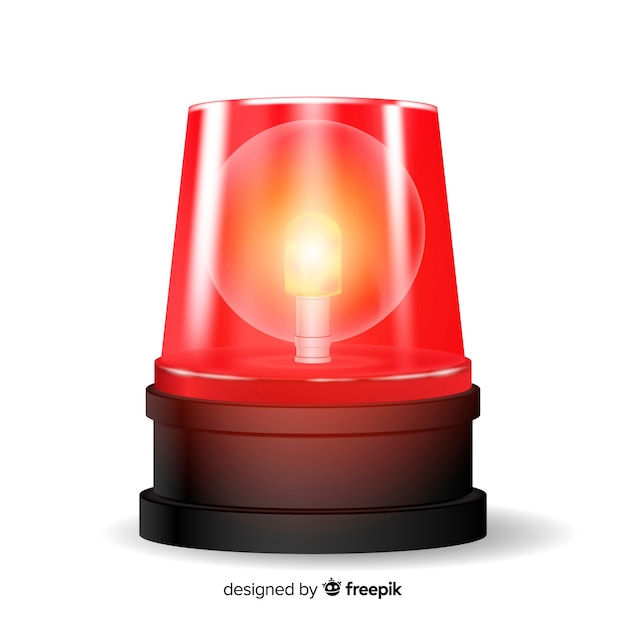 Flashing red siren Free Vector