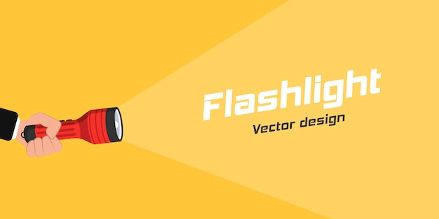 Flashlight icon for advertising and text. hand with holding flashlight and projection light beam in flat design. place for your text. illustration,  . Premium Vector
