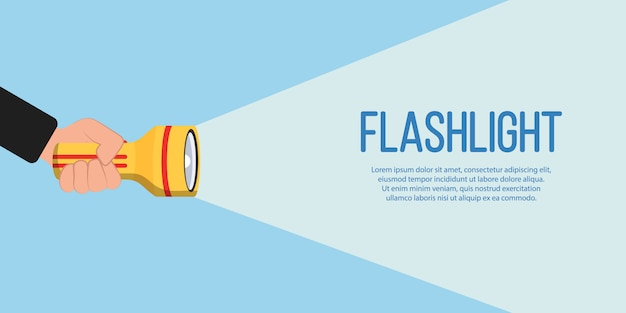 Flashlight icon for advertising and text. hand with holding flashlight and projection light beam in flat design. place for your text. illustration. Premium Vector