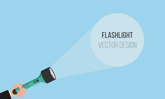 Flashlight icon for advertising and text. place for your text. hand with holding flashlight and projection light beam in flat design. illustration. Premium Vector