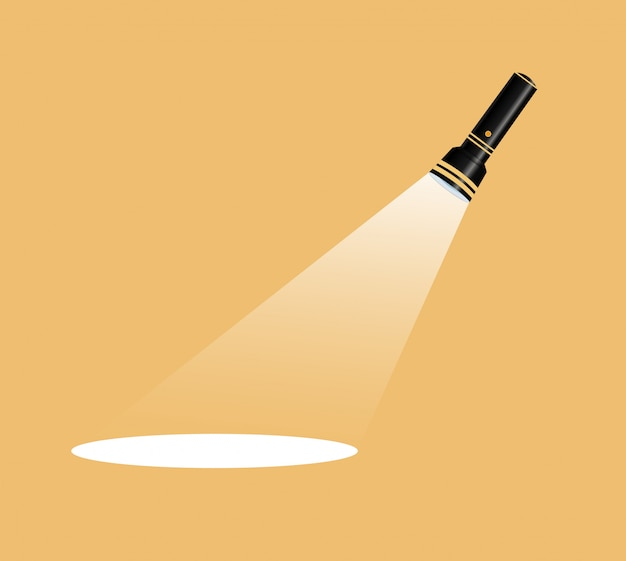 Flashlight icon. flat illustration.competition flat flashlight in white.for advertising and text. Premium Vector