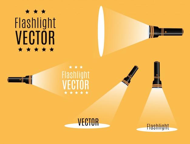 Flashlight icon. flat illustration. Premium Vector
